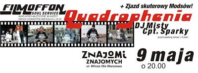 9.05 Warszawa: Pokaz filmu Quadrophenia - reż. Franc Roddam - Anglia 1979 + zlot skuterowy modsów