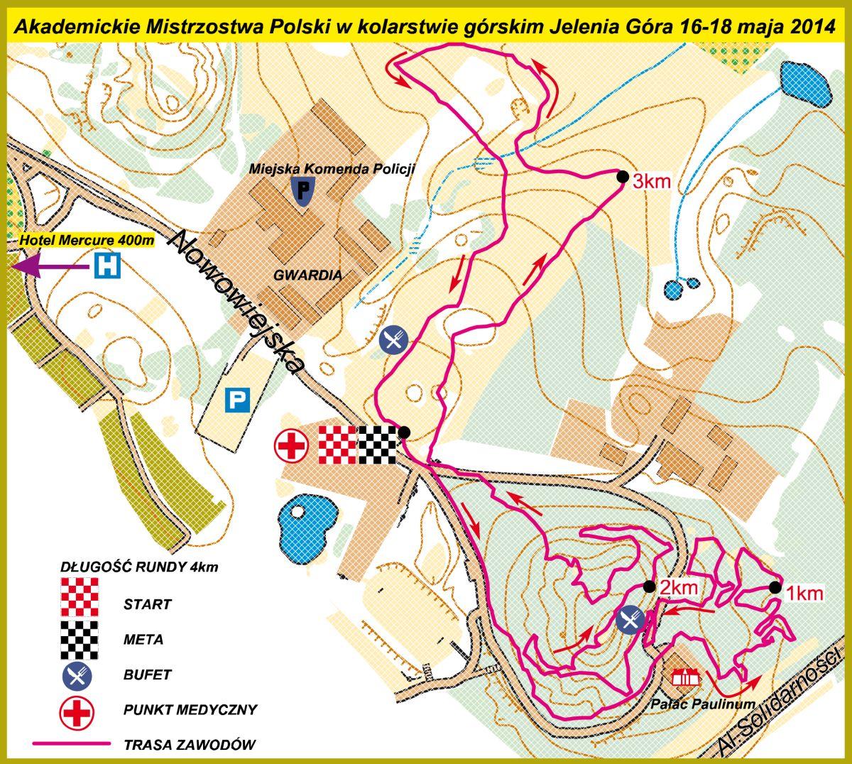 Mapa Akademickich Mistrzostw Polski w kolarstwie górskim