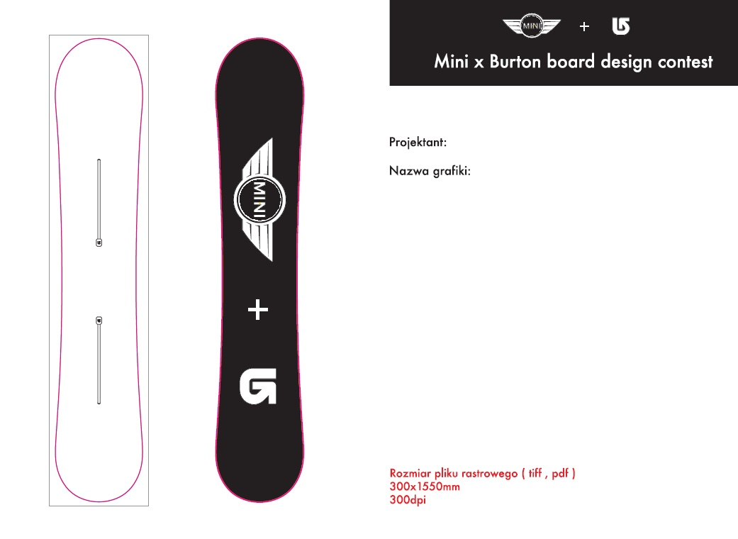 MINI X Burton BoardDesignContest, konkurs na najlepszy projekt graficzny deski snowboardowej