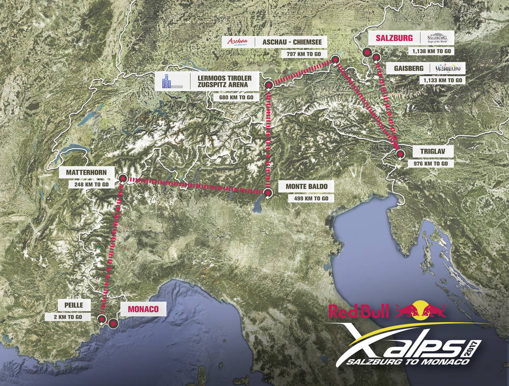 Red Bull X-Alps 2017 Alps: Mapa